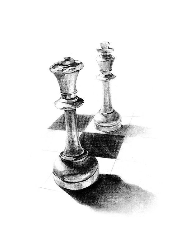 Drawing about a queen and a king pieces of chess • Buy this artwork on home decor, stationery, bags und more.