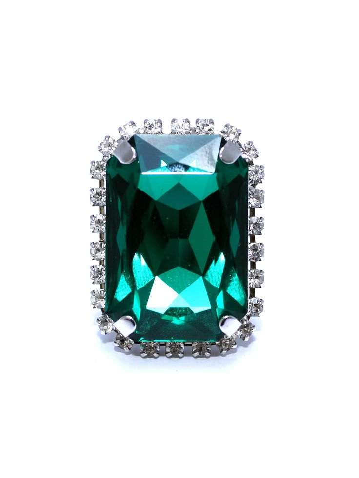 Allure Ring - Emerald Swarovski & Rhodium Silver Plated