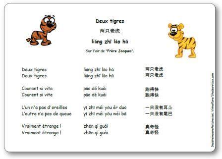 Deux tigres, deux tigres. Courent si vite. Courent si vite. L'un n'a pas d'oreilles, l'autre n'a pas de queue... Comptine chinoise deux tigres