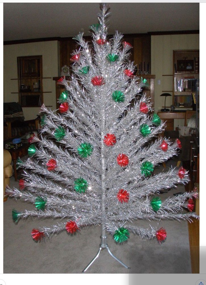 Rare 7 Ft. 154 Branch Aluminum Christmas Tree Red & Green Pom Pom Stunning  LQQK! $475 - Rare 7 Ft. 154 Branch Aluminum Christmas Tree Red & Green Pom Pom