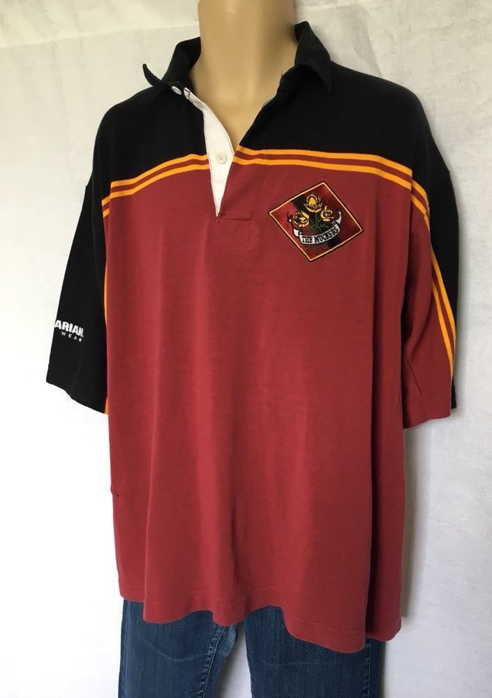Barbarian Rugby Wear Short Sleeve Shirt Size Xl Red Black Gold Super Heavy Ebay