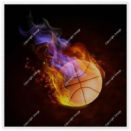Basketball On Fire Wall Murals