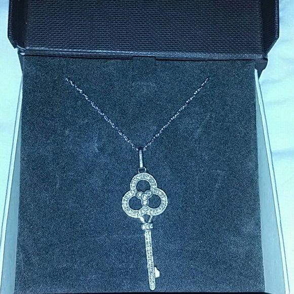 Diamond key pendant necklace Beautiful diamons accent key pendant necklace from Samuels Jewelers. Never worn. Very sparkly. No trades Jewelry Necklaces