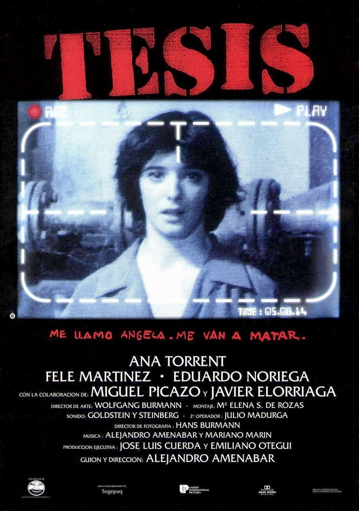 1996. Tesis, primer largometraje de Alejandro Amenábar. Ganó siete Premios Goya, entre ellos, mejor película, mejor dirección novel y mejor guión original.