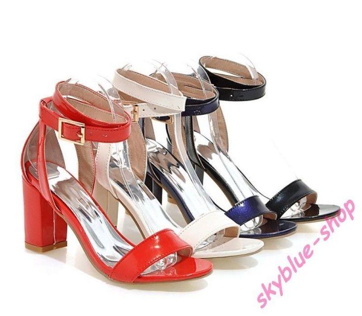Womens Patent Leather Ankle Strap Block Mid Heels Pump Roman Sandals Party Shoes