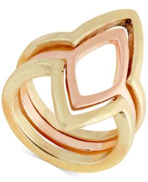 Lucky Brand Two-Tone Geometric Triple-Row Ring - Yellow