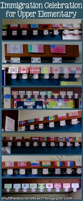 Student drawn flags of the world for our Immigration Celebration! Blog post via Shut the Door and Teach http://www.shutthedoorandteach.com/2014/01/world-geography-foods-and-tunes.html