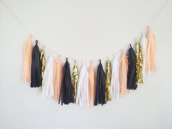 Peach, Gold, and Black Tassel Garland Banner - Peach Party Decor Banner, Peach Wedding Decor, Peach Bridal Shower, Peach Baby Shower