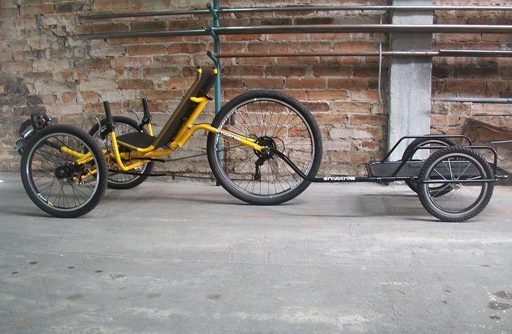 Reboque para bicileta, marca Art Trike, preto, aro 16, cicloturismo, bagagem, cargas, trailer, mini reboque, duas rodas, trike, triciclo reclinado, recumbent trike