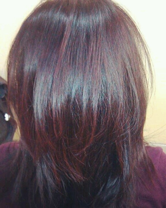 Beautifully Done Burgundy Highlights On Black Hair By