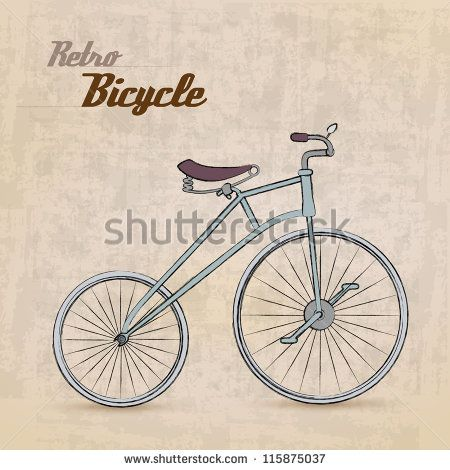 Vintage Retro Bicycle /with hand drawn design   EPS10 Compatibility Required