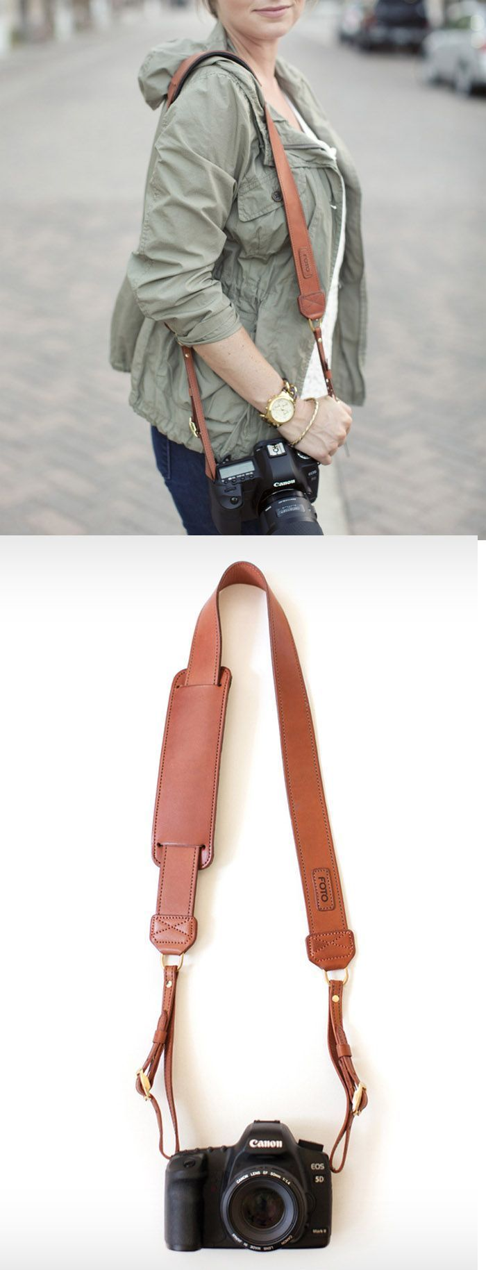 The James Fotostrap -  A Leather Camera Strap that you can add a custom monogram to on the shoulder pad.
