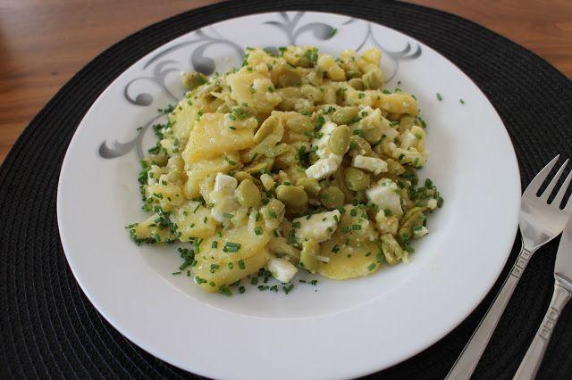 mein Land und Gartengenuss: Kartoffelsalat mit Feta und dicken Bohnen