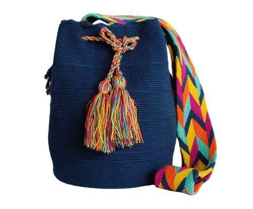 Mochila artesanal en fibra de crochet Wayuu - azul marino