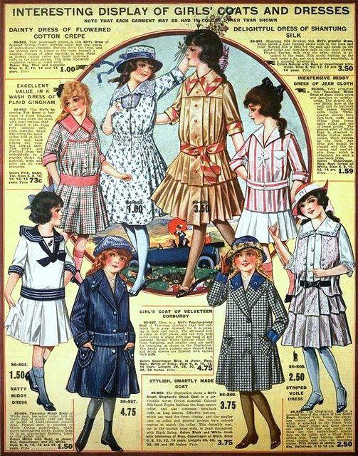 Girls' Coats & Dresses, Eaton's Spring & Summer Catalog, 1917. #vintage #Edwardian #fashion