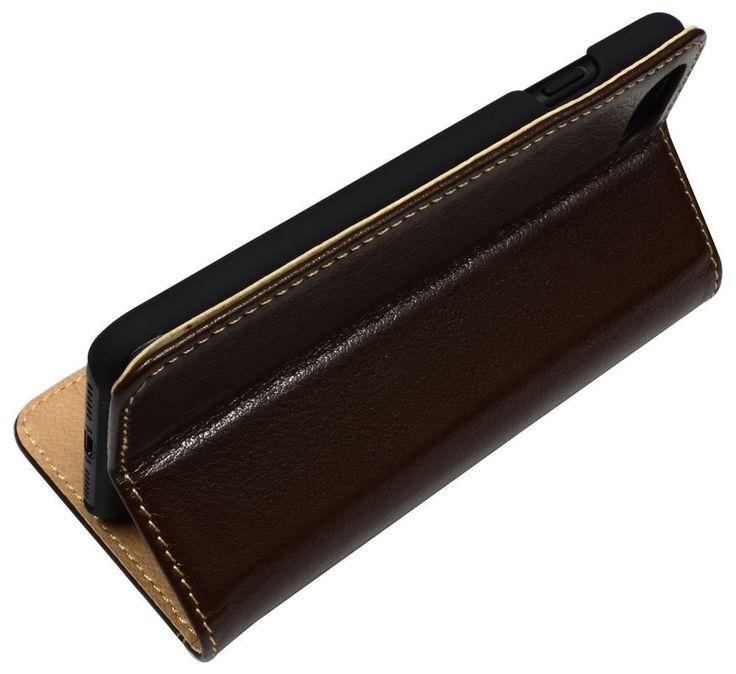 Fashion Brown Cowhide Genuine Leather Pocket iPhone 7 Case   Genuine Leather iPhone 7 Covers Cases   Genuine Leather iPhone 7 Covers