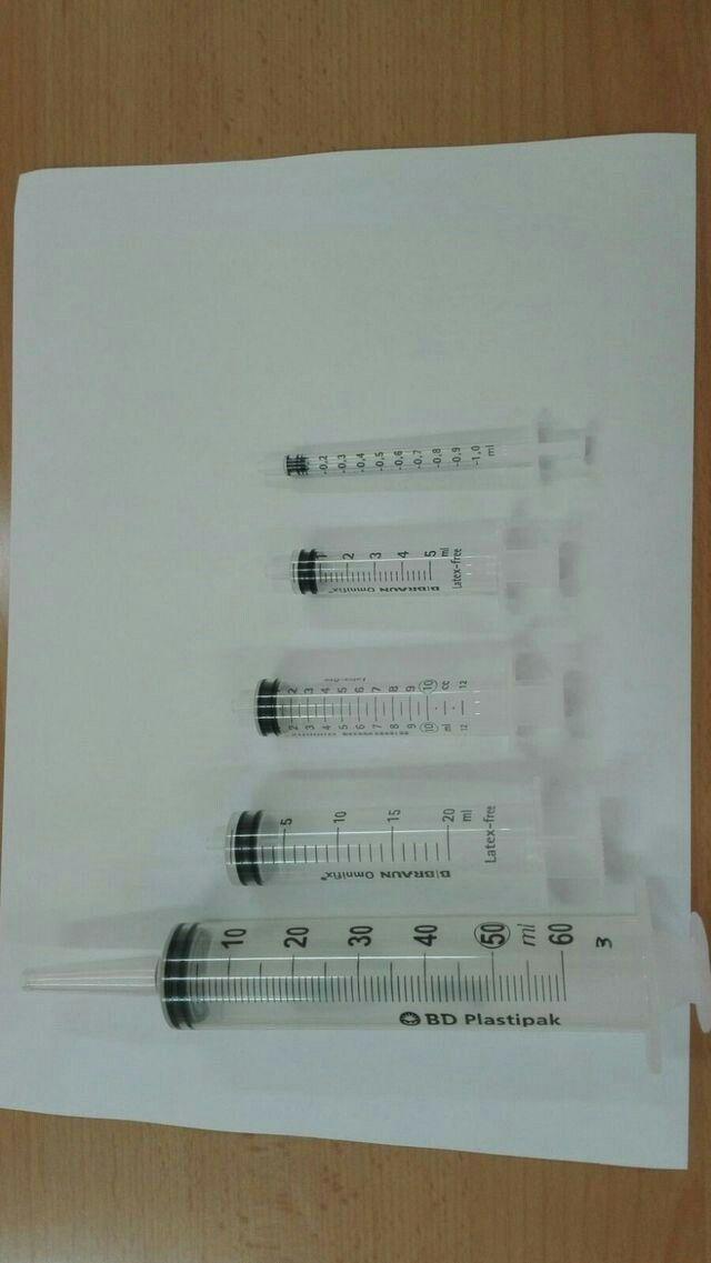 jiringas hipodérmicas de 3 cuerpos de 1,5,10,20,50 ml