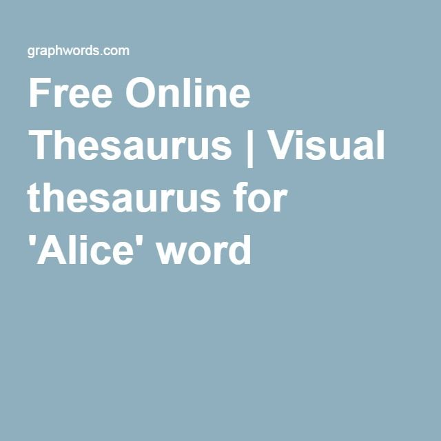 Free Online Thesaurus | Visual thesaurus for 'Alice' word