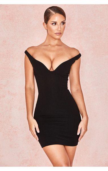 fe5e2d42e22a8 Clothing : Bodycon Dresses : 'Jeanine' Black Crepe Deep Plunge Mini Dress