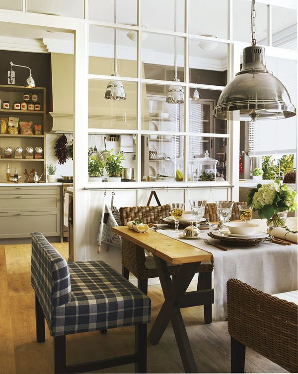 Kitchen and Dining Room with Glass Partition - Plaid Bench
