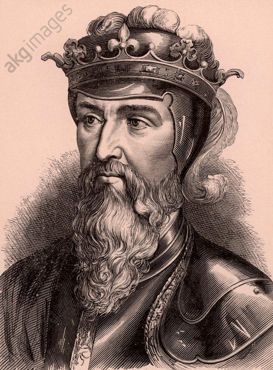 Edward III (1312–1377) king of England from 1327 on the deposition of his father, Edward II. His claim in 1340 to the throne of France led to the Hundred Years' War. A member of the Plantagenet dynasty. Wood engraving c1900. ©akg-images / IAM