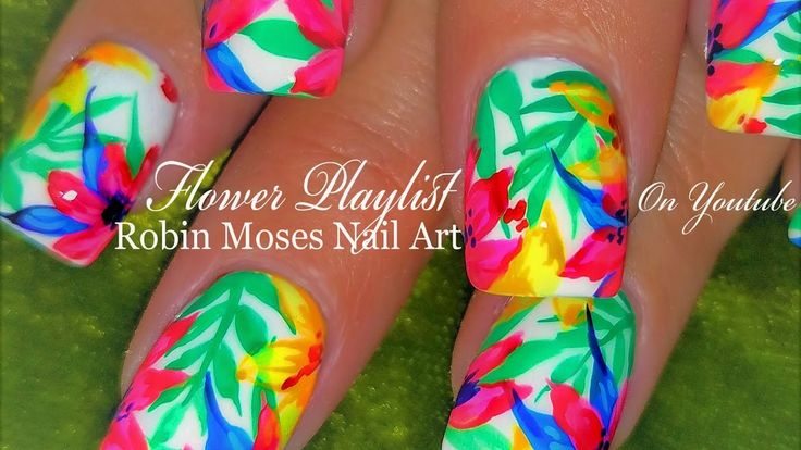 Neon Water Color Flower Nails | Hot + Tropical Nail Art Design Tutorial
