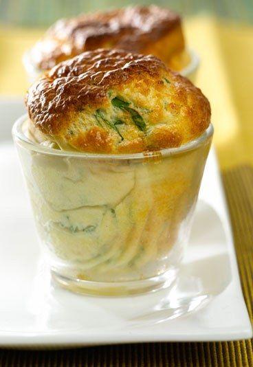 Soufflé courgette emmental, recette soufflé, recette souffle courgette - Verrines: 10 recettes de verrines - Présentation en verrine