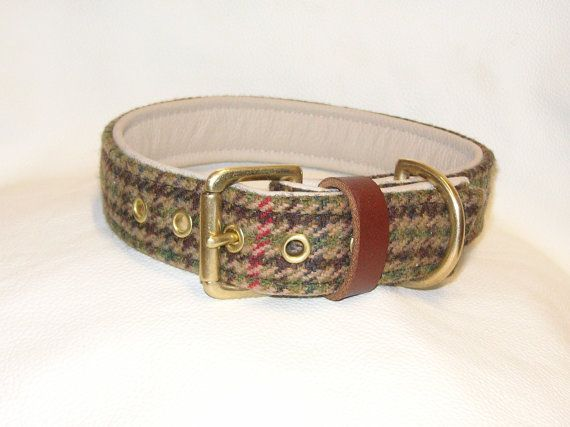 Harris tweed and cream leather dog