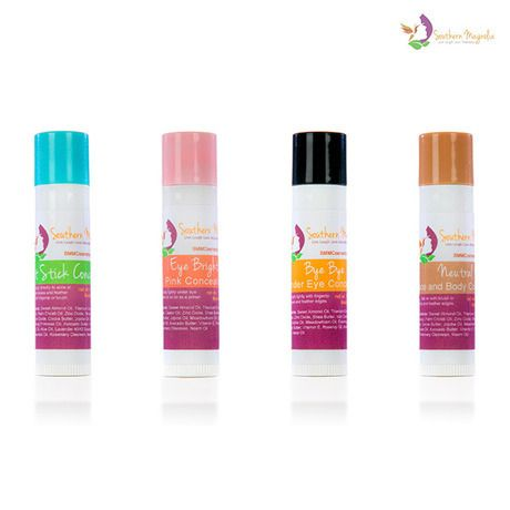 Southern Magnolia Minerals - Magic Erase All-Natural Cream Concealer Fix-It Sticks - Set of 4, $39.95 (http://www.smmcosmetics.com/mineral-makeup/concealer-and-color-corrector/magic-erase-all-natural-cream-concealer-fix-it-sticks-set-of-4/)