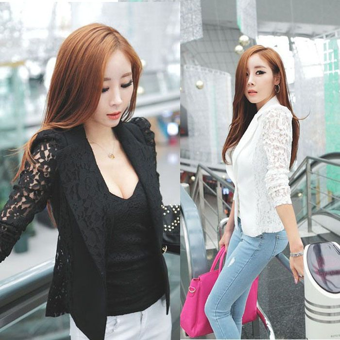 2015 Spring Autumn New Fashion Slim Sexy Long Sleeve One Button Lace Patchwork Women Suit Jacket Plus Size