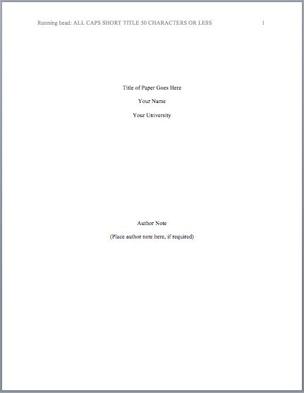 This page contains information on how to properly format your cover page (title page) in APA using the latest APA Manual. Your APA format title page should include 5 elements: running head, your pa...