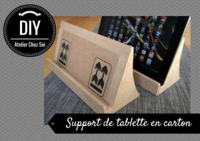 DIY Tutoriel support de tablette en carton - Fiche créative gratuite Atelier Chez Soi