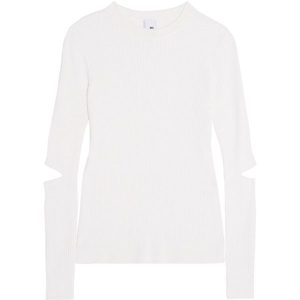 Iris and Ink Cutout ribbed merino wool sweater (195 BRL) ❤ liked on Polyvore featuring tops, sweaters, cream, rib sweater, merino sweater, ribbed sweater, cream top and white cut out top
