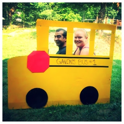 "Creepy Picture... BUT ""The Wheels on the Bus"" party photo booth"