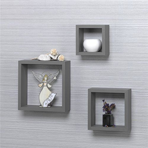 O&K Furniture Modern Home 3 Pieces Grey Square Cube Wall Shelf Set