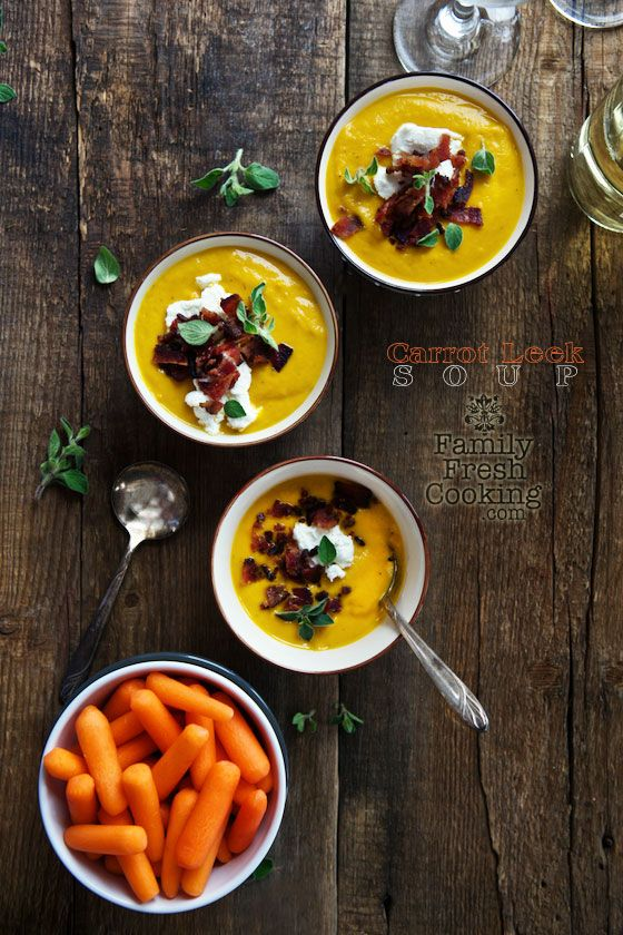 Roasted Carrot Leek Soup | Healthy & Delicious Soup | FamilyFreshCooking.com @Marla Landreth Meridith