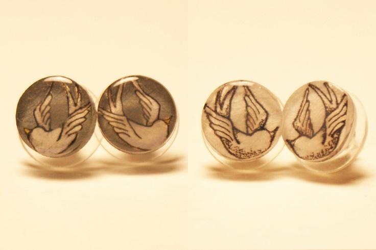 Small Swallow Bird Pair of Stud Earrings. $10.00, via Etsy.