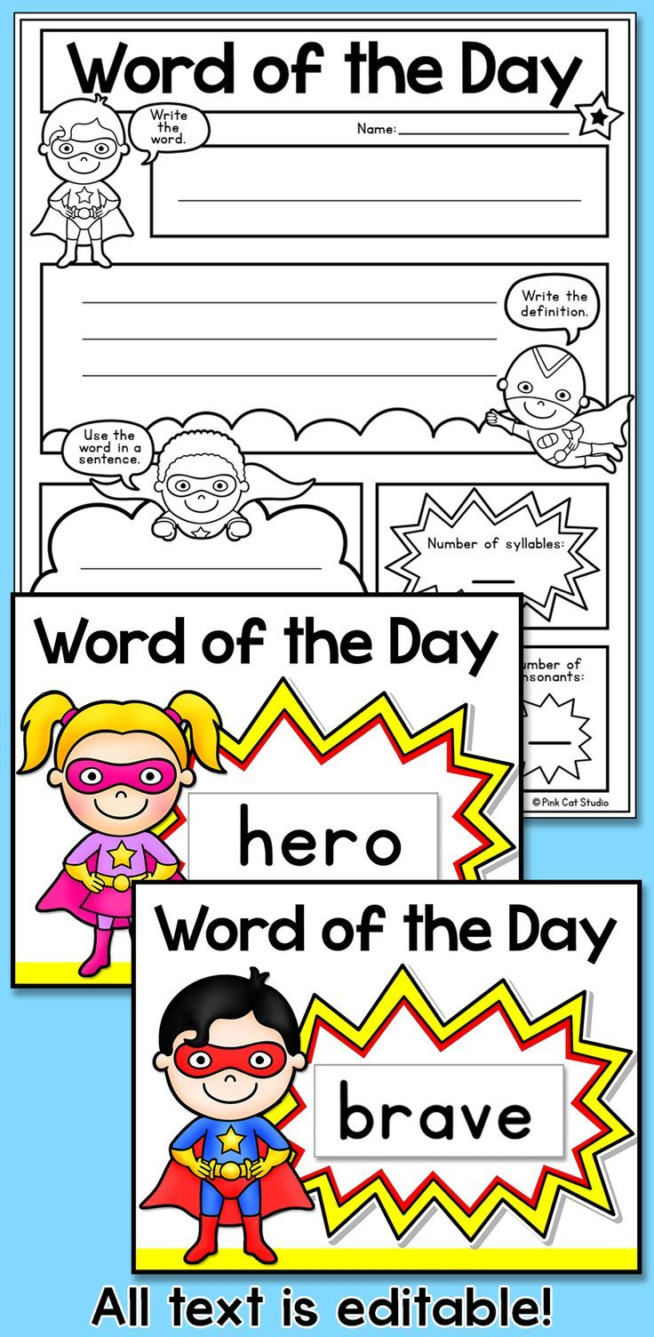 Classroom Decoration Word Worksheets ~ Word of the day superhero theme posters comic book