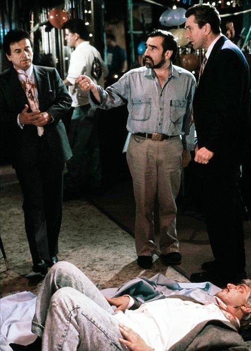 Martin Scorsese, Joe Pesci, Robert De Niro and Frank Vincent on the set of Goodfellas.