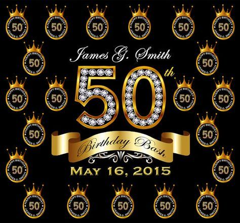 50th Birthday Party Custom Backdrop (Step and Repeat). Black and Gold Crowns. 8ft x 8ft. FREE SHIPPING! Can be customized  for other celebrations: Sweet 16, Anniversaries, etc.   SET YOUR EVENT APART FROM ALL THE OTHERS WITH A CUSTOM BACKDROP!   Great for 50th Birthday Parties on the next level!!   The 8' x 8' step and repeat backdrop can help you create the perfect photos setup like a Hollywood star.   This backdrop creates lasting memories of your event for a lifetime!