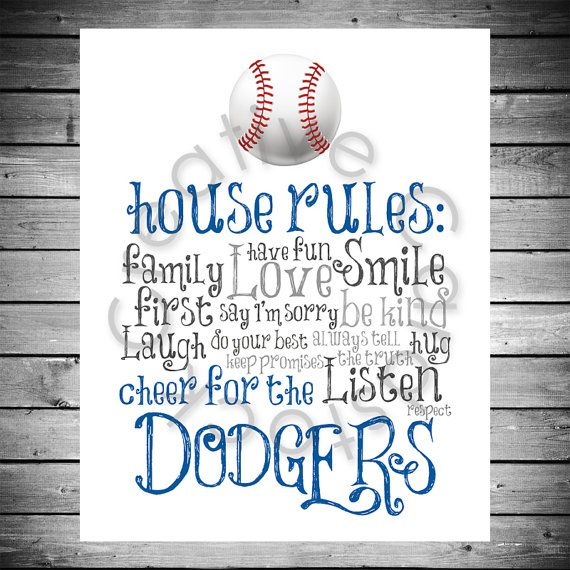 Los Angeles Dodgers House Rules - 8x10 INSTANT Digital Copy on Etsy, $10.00