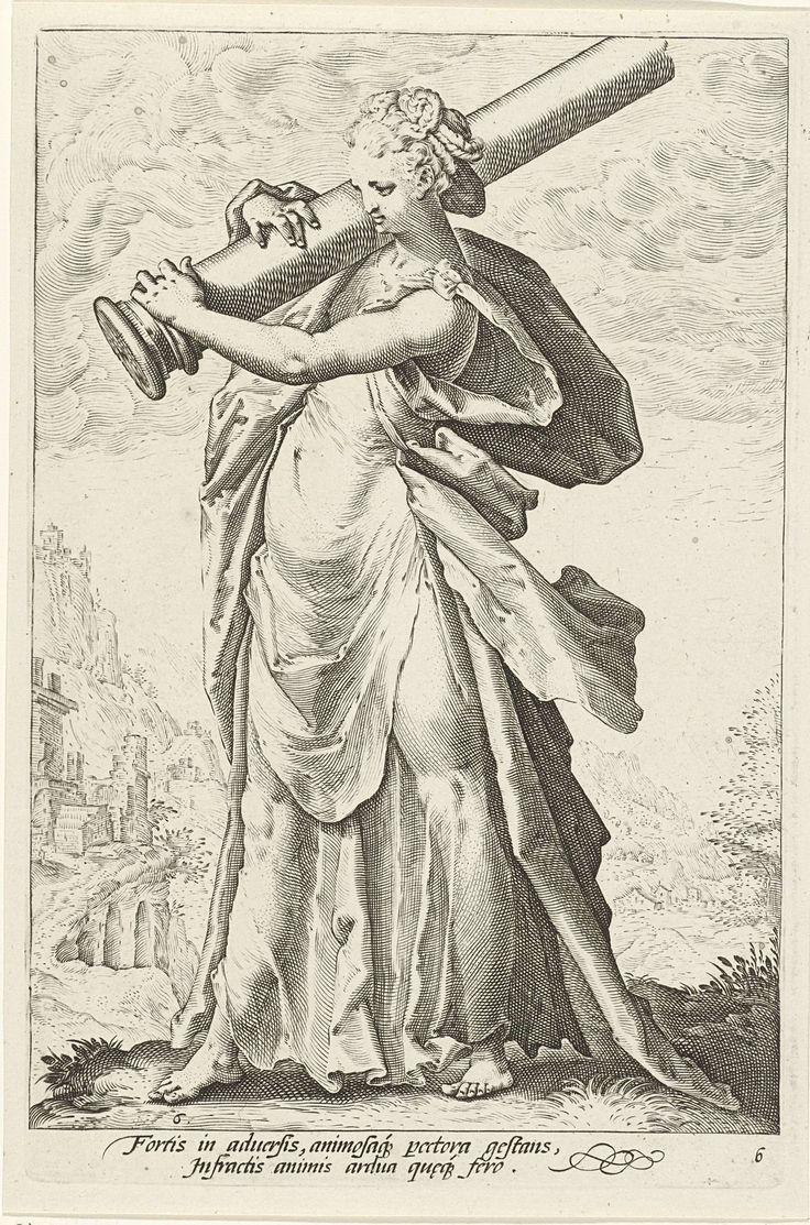 Hendrick Goltzius | Kracht (Fortitudo), Hendrick Goltzius, Claes Jansz. Visscher (II), 1585 - 1589 | De gepersonifieerde Kracht; een vrouwenfiguur met een zuil over haar rechter schouder. Op de achtergrond een heuvellandschap.