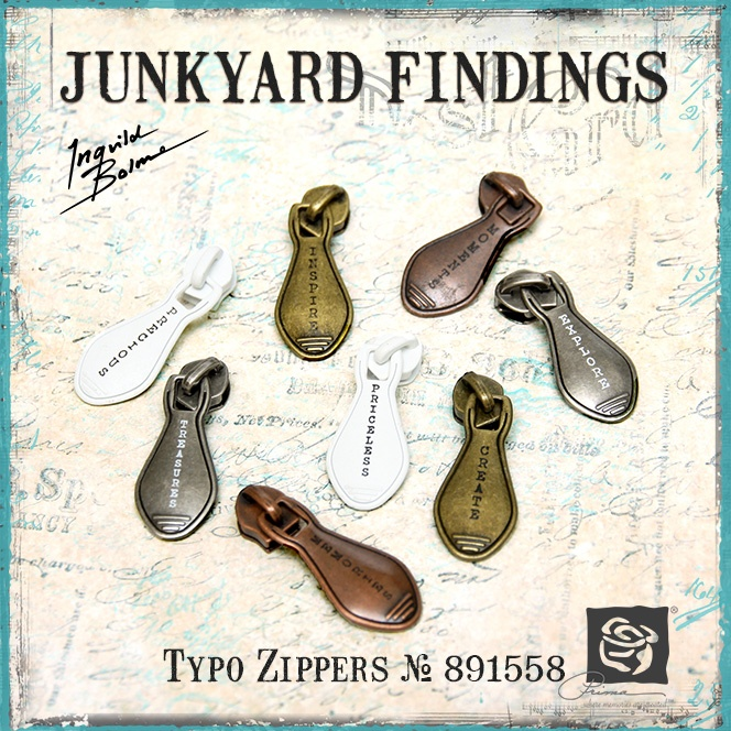 Junkyard Findings by Ingvild Bolme - Prima Typo Zippers Metal Embellishments