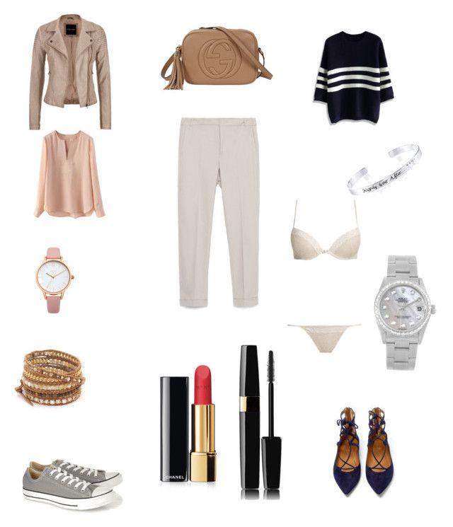 """""""Senza titolo #11"""" by alixist-1 on Polyvore featuring moda, Zara, Aquazzura, Converse, maurices, Chicwish, Gucci, Chan Luu, Disney e Rolex"""