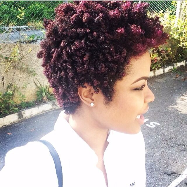 Tapered natural hair with color. Awesome. In love with this look:)