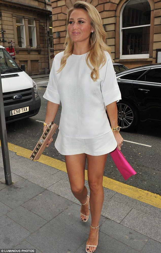 Looking a bit of all white! Alex Gerrard undoubtedly turned heads in her thigh-skimming look as she partied with pals in Liverpool on Friday...