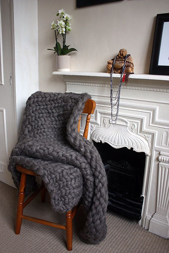 #knitting #inspiration #chunky_knit #throw #blanked Chunky Knit British Wool Throw by GraphiteHandKnit on Etsy