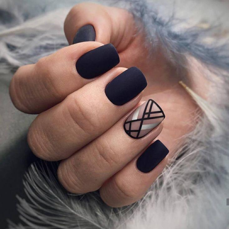 Pretty dull black nail design & trends collection 2019