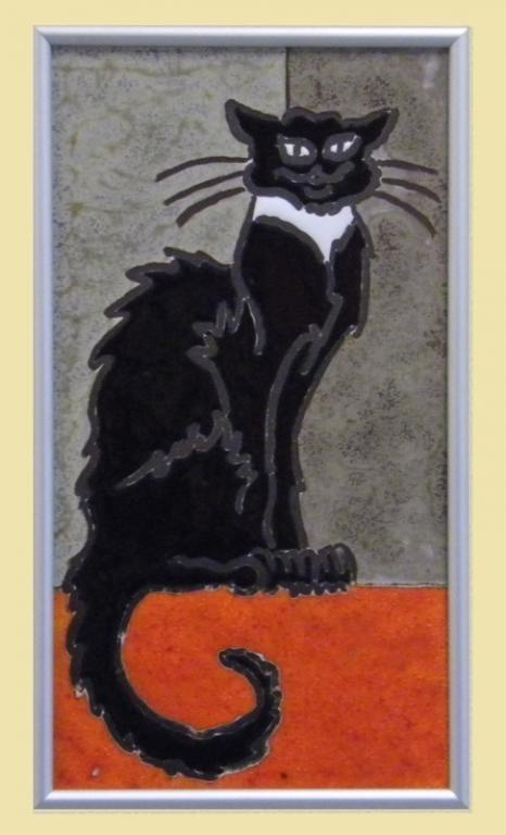 obrazek ceramiczny szkliwiony czarny kot - KRAKÓW