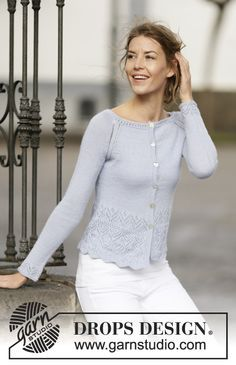 "Sweet and feminine jacket with #raglan and #lace pattern in ""BabyAlpaca Silk"". #FreePattern by #DROPSDesign"